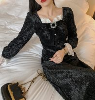 Dress Winter 2020 Black sequins S,M,L Mid length dress singleton  Long sleeves commute square neck High waist Solid color pagoda sleeve 18-24 years old Type A Retro Ruffles, diamonds, lace