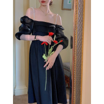 Dress Spring 2021 Hazy black S,M,L,XL Middle-skirt singleton  Sleeveless commute Crew neck High waist Solid color Socket A-line skirt puff sleeve Hanging neck style Type A More than 95% other other