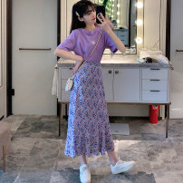Women's large Summer 2020 Purple short sleeve, black short sleeve, purple long skirt, purple short skirt, knitted cardigan, suspender skirt, short sleeve shirt, five point shorts Large L, s, m, one size fits all 8623#