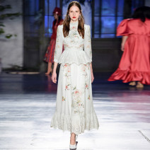 Dress Spring 2021 White, black S,M,L,XL longuette singleton  Nine point sleeve Sweet stand collar High waist Solid color zipper Princess Dress routine Others Type X Lace, embroidery tkugiuyrkljgl712 More than 95% brocade polyester fiber princess