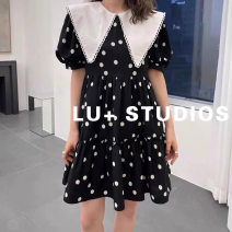 Dress Spring 2021 Black white dots M,L,XL longuette Short sleeve Lotus leaf collar Dot 25-29 years old L201406004