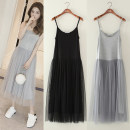 Dress Spring 2021 Ankle black, ankle white, ankle light gray, ankle complexion, ankle Navy, ankle pink, knee white, knee black, knee light gray, knee pink, knee Navy, knee complexion Mid length dress singleton  Sleeveless commute Crew neck High waist Solid color Princess Dress camisole Korean version