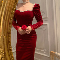 Dress Winter 2020 Black, crimson S,M,L Mid length dress singleton  Long sleeves commute square neck High waist Solid color zipper One pace skirt routine Others Type H Retro