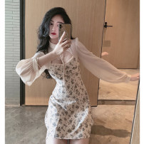 Dress Summer 2020 Design and color [in stock] S,M,L,XL,2XL,3XL Short skirt singleton  Long sleeves commute stand collar High waist Broken flowers Socket A-line skirt routine Others Type A Korean version Hollow out, bandage, gauze, printing