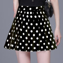 skirt Summer 2021 M L XL XXL 3XL 4XL White dot black dot Short skirt commute High waist A-line skirt Dot Type A More than 95% Chiffon Three beauties polyester fiber zipper Korean version Polyester 100% Same model in shopping mall (sold online and offline)