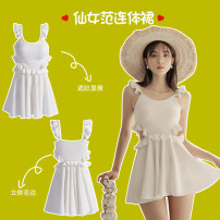 one piece  M,L,XL white Skirt one piece Steel strap breast pad female Sleeveless Casual swimsuit Solid color Lotus leaf edge