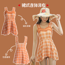 one piece  Fan Shidu M,L,XL lattice Skirt one piece With chest pad without steel support female Sleeveless Casual swimsuit Lotus leaf edge