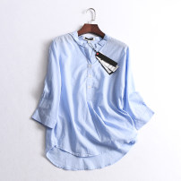 shirt White, blue, pink S, M Summer of 2019 cotton 96% and above Nine point sleeve Regular Single row multi button raglan sleeve Solid color 035-009