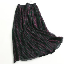 skirt Summer 2020 S,M,L Bright black, bright purple green Mid length dress Versatile High waist 028-019 More than 95% polyester fiber