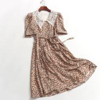 Dress Summer 2020 Picture color S,M,L longuette singleton  Short sleeve High waist Socket puff sleeve 060-029 More than 95% Chiffon polyester fiber
