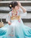 Tang costume Sky blue flower paper, orange flower paper 110,120,130,140,150 Other 100% female summer Thin money other Broken flowers Cotton liner 2, 7, 3, 5, 6, 4 Chinese Mainland