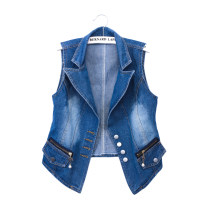 Vest Summer 2020 blue S,M,L,XL,2XL,3XL have cash less than that is registered in the accounts V-neck commute Single breasted other 18-24 years old 51% (inclusive) - 70% (inclusive) cotton cotton