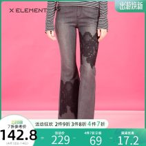 Jeans Autumn of 2018 black 155/S 160/M 165/L 170/XL trousers Natural waist Straight pants routine 18-24 years old Wear out stickers other light colour Natural element 91% (inclusive) - 95% (inclusive) Cotton 99% polyurethane elastic fiber (spandex) 1%