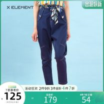 Jeans Summer of 2019 blue 155/S 160/M 165/L trousers Natural waist Overalls routine 18-24 years old Multi Pocket metal decoration Thin denim Dark color ZSAIJD0701 Natural element 96% and above Cotton 100% Same model in shopping mall (sold online and offline)