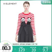 Dress Spring of 2018 Black white stripe red white stripe 150/XS 155/S 160/M 165/L Mid length dress singleton  Long sleeves Sweet Crew neck High waist Animal design Socket Pleated skirt routine Others 18-24 years old Type X Natural element Sequins ZIAGJI4201 31% (inclusive) - 50% (inclusive) other