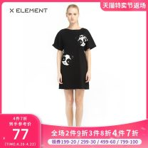 Dress Summer of 2019 black 155/S 160/M 165/L Middle-skirt singleton  Short sleeve commute Crew neck Loose waist Cartoon animation Socket A-line skirt routine Others 18-24 years old Type A Natural element lady Bright silk ZIAIJC1201 More than 95% other cotton Cotton 100%