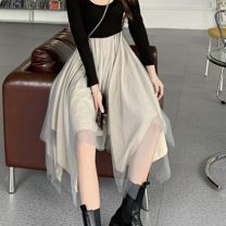 Dress Autumn 2020 black Average size singleton  commute Irregular skirt 18-24 years old Korean version Asymmetry