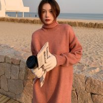 sweater Winter 2020 Average size Apricot, blue, black, coffee, pink Long sleeves Socket singleton  other 95% and above High collar thickening routine Solid color 18-24 years old Three dimensional decoration