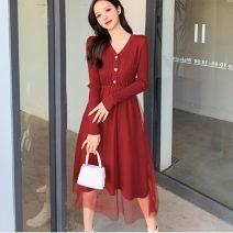 Dress Winter 2020 Apricot, red, black S,M,L Miniskirt singleton  Long sleeves commute V-neck High waist Solid color Big swing Korean version Splicing knitting