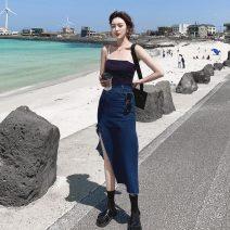 skirt Summer 2021 S,M,L,XL Blue in stock Mid length dress High waist Denim skirt Solid color Type A