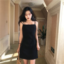 Dress Spring 2021 black S,M,L Middle-skirt singleton  Sleeveless commute One word collar middle-waisted Solid color Socket One pace skirt straps 18-24 years old Type H cotton