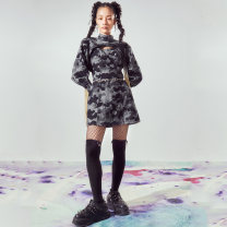 Dress Autumn 2020 Black, blue, black and white S,M,L Mid length dress Two piece set commute Others 18-24 years old SIBYL OF NO.17 Retro SD1720011 30% and below Denim