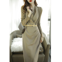 Dress Spring 2021 Camel color (for belt), black (for belt), collection plus purchase priority delivery XS,S,M,L,XL Mid length dress singleton  Long sleeves commute V-neck Solid color Socket Irregular skirt other Others Type A Sophie Valley Z082201 31% (inclusive) - 50% (inclusive) wool