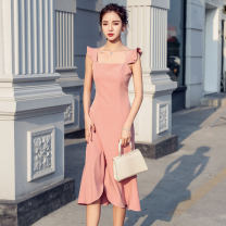 Dress Summer 2020 S,M,L,XL Mid length dress singleton  Sleeveless commute One word collar High waist Solid color zipper Ruffle Skirt Flying sleeve camisole Type A lady Auricularia auricula, zipper