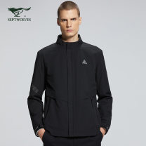 Jacket Septwolves Fashion City 001 (black), 103 (gray blue) 175A,195A,165A,190A,170A,180A,185A routine standard motion autumn 1H1A50101725 Polyester 100% Long sleeves Wear out stand collar American leisure youth routine Zipper placket Straight hem Closing sleeve other other