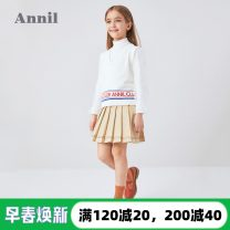 skirt 110cm,120cm,130cm,140cm,150cm,160cm,170cm Annil / anel female Polyester 63% cotton 37% spring and autumn skirt college Solid color Pleats other Class B