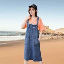 Dress Summer 2021 blue S,M,L,XL Mid length dress singleton  Sleeveless commute other High waist letter Socket A-line skirt routine straps Type A Other / other Korean version Patch, pocket, stitching, tie dyeing, aging, strap, button, resin fixation 31% (inclusive) - 50% (inclusive) Denim cotton