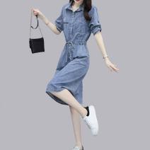 Dress Summer 2021 blue S,M,L,XL,2XL Mid length dress singleton  Short sleeve commute Polo collar middle-waisted letter Socket A-line skirt shirt sleeve Others Type A Korean version 31% (inclusive) - 50% (inclusive) Denim cotton