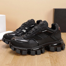 Low top shoes Multi material splicing Frenulum Round head Outdoor leisure shoes cloth Britain Sports & Leisure Thick bottom rubber increase Adhesive shoes Youth (18-40 years old) Totems Middle heel (3-5cm) top layer leather Spring 2021