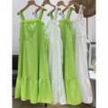 Dress Summer 2020 White, fruit green S,M,L,XL longuette singleton  Sleeveless Sweet High waist Solid color Socket Cake skirt camisole 18-24 years old Type A fold More than 95% other cotton Mori