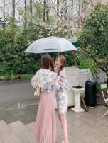 Dress Spring 2021 Ink color S,M,L Short skirt singleton  Long sleeves commute V-neck High waist Decor Socket A-line skirt routine 18-24 years old Type A Korean version