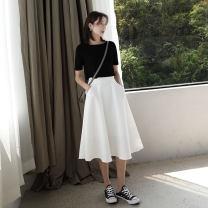 skirt Summer 2020 XS,S,M,L Black, white, pink, blue, khaki, model black half sleeve T-shirt Mid length dress Versatile High waist A-line skirt Solid color Type X other