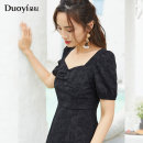 Dress Summer 2021 black S M L longuette singleton  Short sleeve commute square neck High waist zipper A-line skirt puff sleeve Others 25-29 years old Type A Duoyi / flower lady Tuck and split 36VX811028 More than 95% other polyester fiber Polyester 96% polyurethane elastic fiber (spandex) 4%