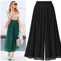 Casual pants Green, dark blue, black S,M,L,XL,2XL,3XL,4XL,5XL Spring 2020 Cropped Trousers Wide leg pants High waist street Thin money 25-29 years old 51% (inclusive) - 70% (inclusive) F131 Muyi Huayu other fold hemp Europe and America