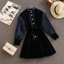 Dress Autumn 2020 navy blue S,M,L Short skirt singleton  Long sleeves Sweet stand collar High waist Solid color Single breasted A-line skirt routine 18-24 years old Type A Ruffles , Frenulum , Splicing , Button , Gauze princess