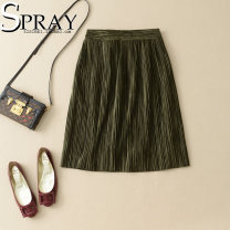 skirt Spring of 2019 S,M,L,XL Black, grey, army green Middle-skirt Versatile High waist A-line skirt Solid color Type A 71% (inclusive) - 80% (inclusive) other cotton