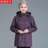 Middle aged and old women's wear Spring 2021 Red, purple XL,XXL,XXXL,5XL,4XL leisure time Jacket / jacket easy singleton  Solid color Over 60 years old Cardigan thin stand collar Medium length (length 50-70cm) routine Bmchar18C165 Bmchar / Baimei beauty pocket 51% (inclusive) - 70% (inclusive) zipper