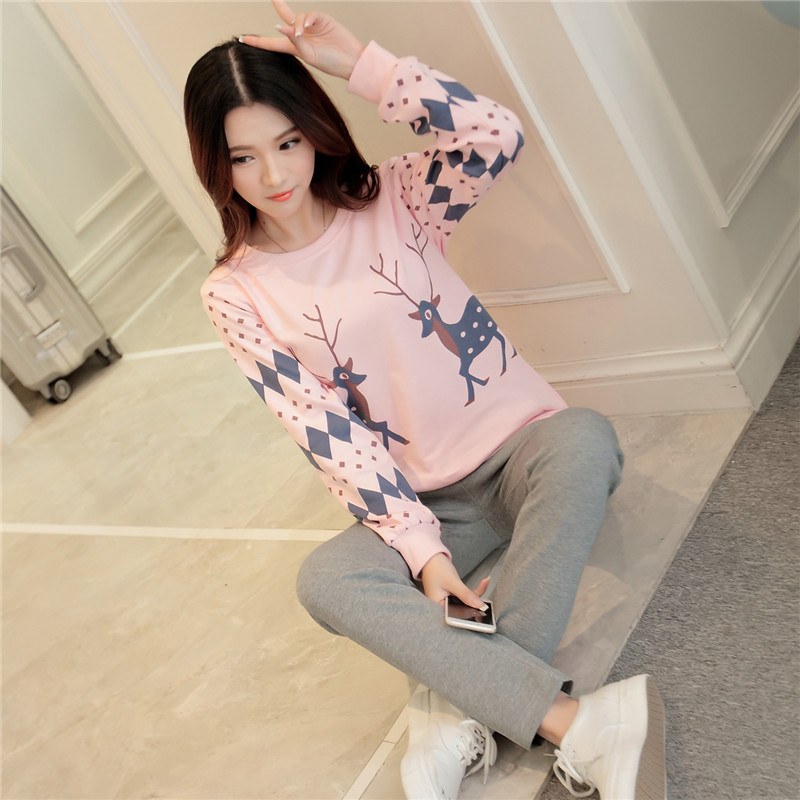 Pajamas / housewear set female Other / other M L XL 1605 fawn 1606 letter 1607 chinchilla 1608 bear 1609 rabbit New York cow long sleeve cotton motion
