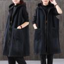 Vest Autumn 2020 Black zipper, black collar, black print back, Black Print Long Sleeve Jacket S,M,L,XL,2XL,3XL Medium length Hood commute Solid color zipper I-shaped 25-29 years old cotton Pocket, tridimensional decoration, zipper