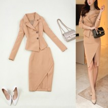 suit Spring of 2018 Beige S,M,L,XL Long sleeves Medium length Self cultivation tailored collar double-breasted commute routine Solid color 30-34 years old 96% and above polyester fiber Button
