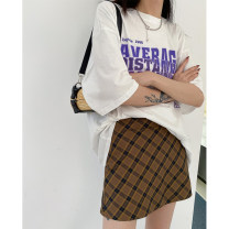 skirt Spring 2021 S, M Apricot, coffee Middle-skirt street High waist A-line skirt lattice Type A 18-24 years old 31% (inclusive) - 50% (inclusive) other JASUMMER other zipper Europe and America