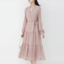 Dress Spring 2021 Yellow flowers , Pink flowers Average size longuette singleton  Long sleeves commute V-neck High waist Broken flowers Socket A-line skirt routine Others Type A Other / other Korean version 964gj More than 95% other polyester fiber