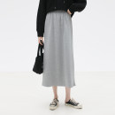 skirt Spring 2021 Average size Gray, black Mid length dress commute High waist A-line skirt Solid color Type A More than 95% Other / other cotton Korean version