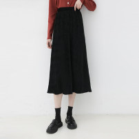 skirt Spring 2021 Average size Agate black, deep blue, mocha Mid length dress commute High waist A-line skirt Solid color Type A 942dg 31% (inclusive) - 50% (inclusive) Other / other cotton fold Korean version