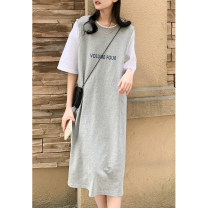 Dress Summer 2021 Black, gray Average size Mid length dress singleton  Short sleeve commute Crew neck Loose waist letter Socket other routine Others Type H Other / other Korean version printing 991eh More than 95% cotton