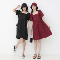 Dress Summer 2021 Black, heart red Average size Middle-skirt Two piece set Short sleeve commute square neck High waist Solid color Socket A-line skirt bishop sleeve Others Type A Other / other Korean version Pleating, stitching 980ef 31% (inclusive) - 50% (inclusive) other